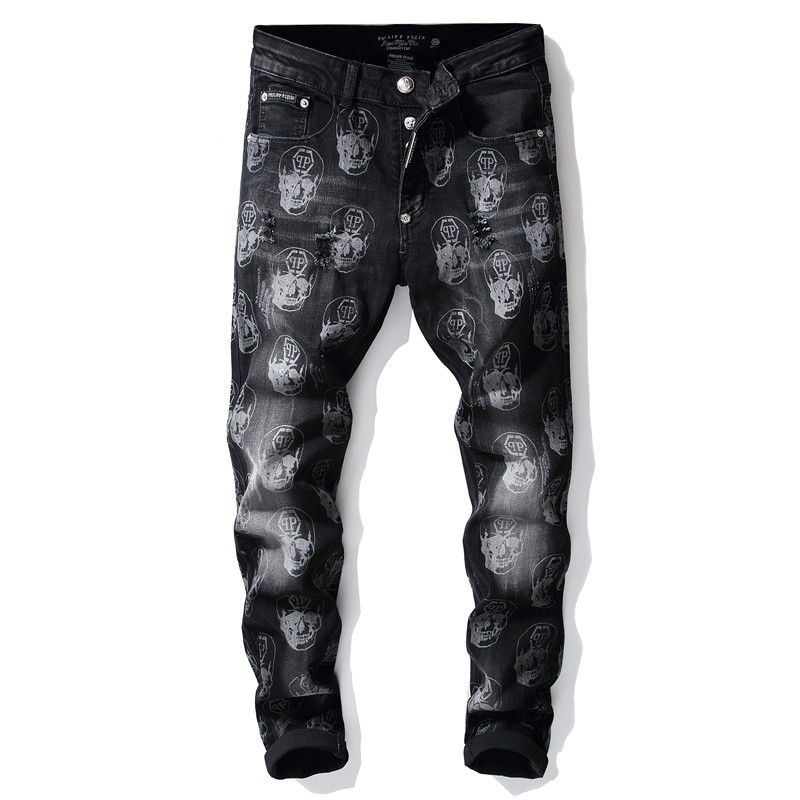 KIOVNO Skull Printed Jeans Pants Mens Hip Hop Streetwear Denim Trousers Washed Stretch Pants Male