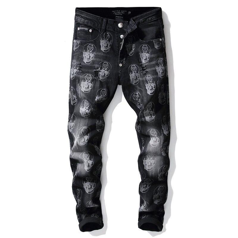 KIOVNO Skull Printed Jeans Pants Mens Hip Hop Streetwear Denim Trousers Washed Stretch Pants Male