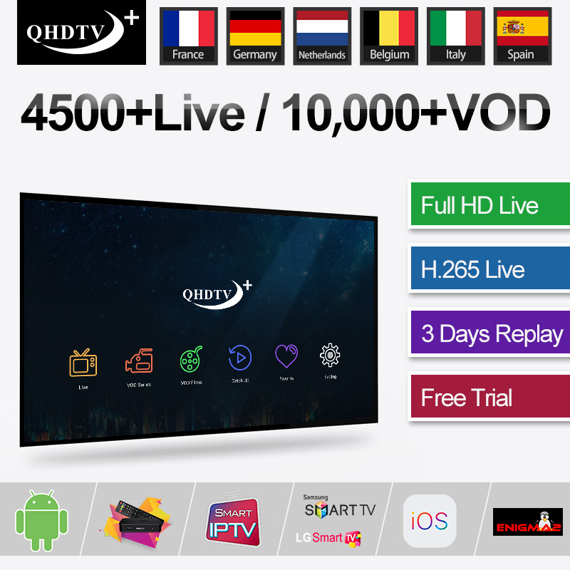 Android TV Box QHDTV+ Subscription IPTV Code Portugal Sweden Dutch Italia Spain France <font><b>Belgium</b></font> Dutch 1Year IPTV for M3U Smart TV image