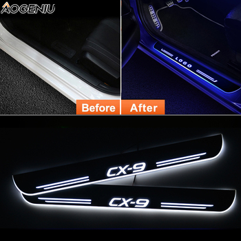 12v Streamed Light LED Door Sill For MAZDA CX-9 TB TC 2006-2020 Scuff Plate Acrylic Door Sills Car Sticker Accessories led door sill for mazda 6 skyactiv 2013 2019 streamed light scuff plate acrylic battery car door sills accessories