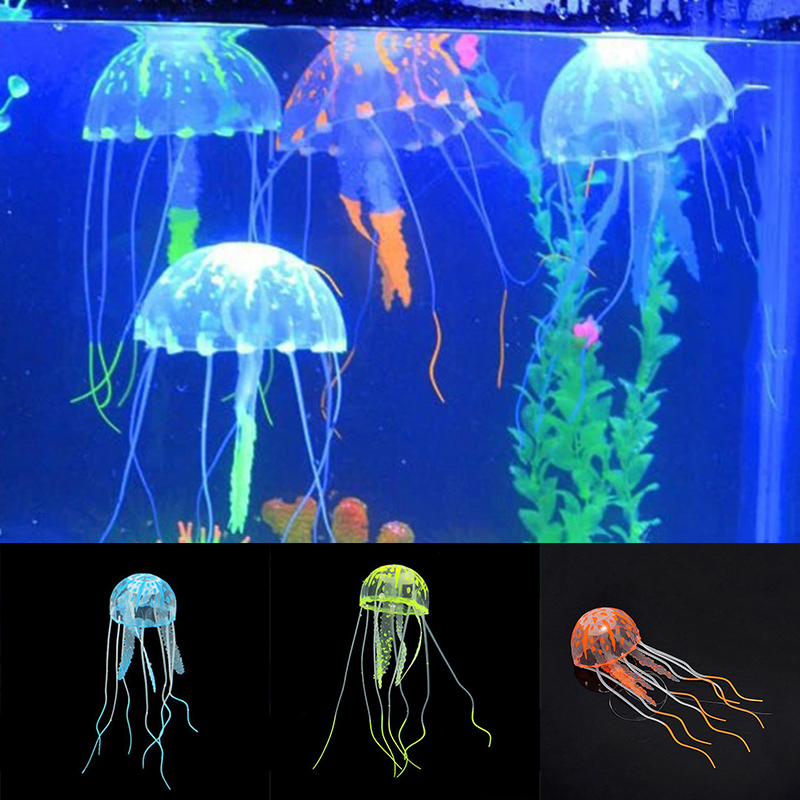 1pcs Glowing Moon Jellyfish Aquarium Decor Artificial Jellyfish Fish Tank Ornament Harmless to all fish For both fresh and salt