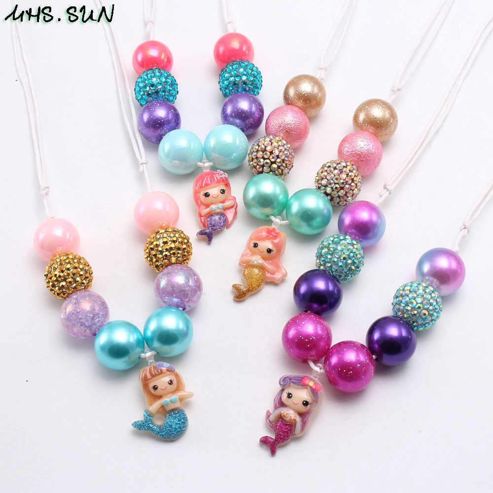 MHS. sun Lucu Putri Duyung Liontin Anak Gadis Manik-manik Kalung Gelang Anak Bayi Adjustable Tali Kalung Chunky Perhiasan Set untuk Hadiah