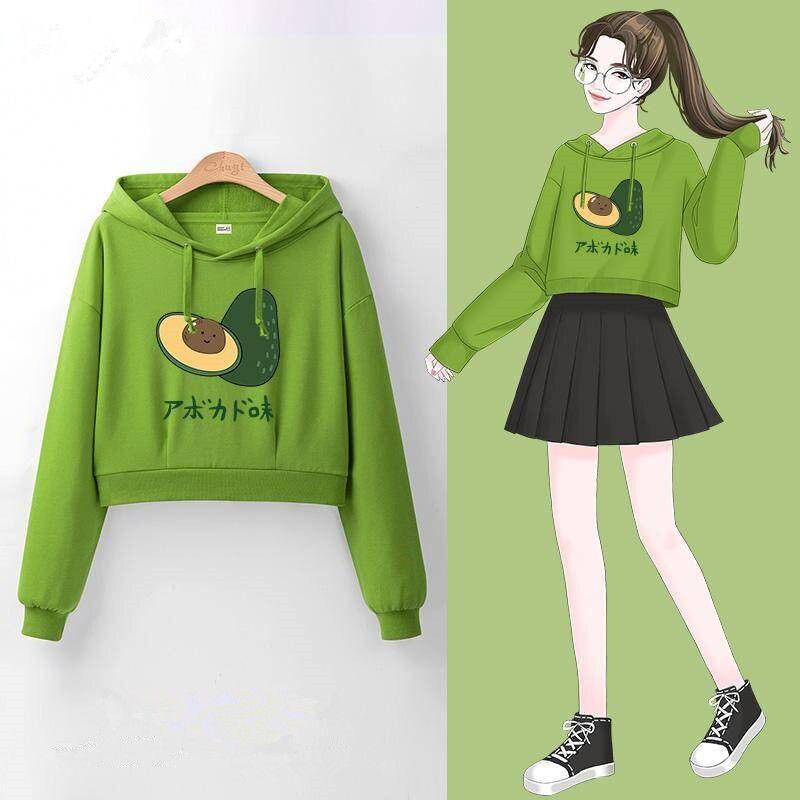 2020 New Avocado Cartoon Women Hoodies Hooded Korea Clothing Tops Long Sleeve Short Sweatshirts Lovey Harajuku Pullovers