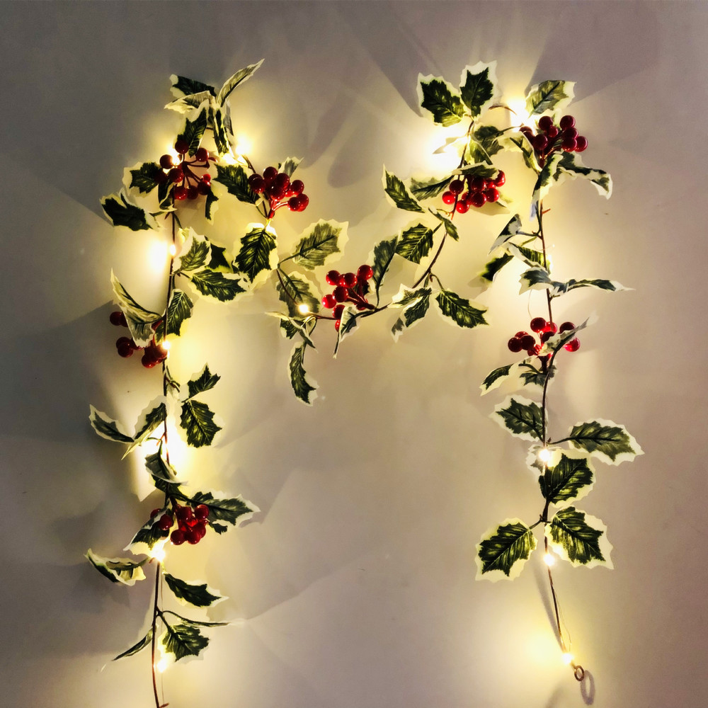 2019 NEW 2M LED String Artificial Red Holly Berry Christmas DIY Home Garden Decorations Christmas Supplies Decoration For Home