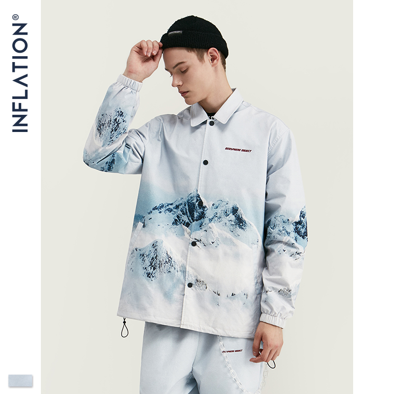 Image 2 - INFLATION 2020 DESIGN Casual Loose Fit Blazer with Print  White Color Streetwear Men Suit Fashion Style  Terno Masculino BlazersMens Sets   -