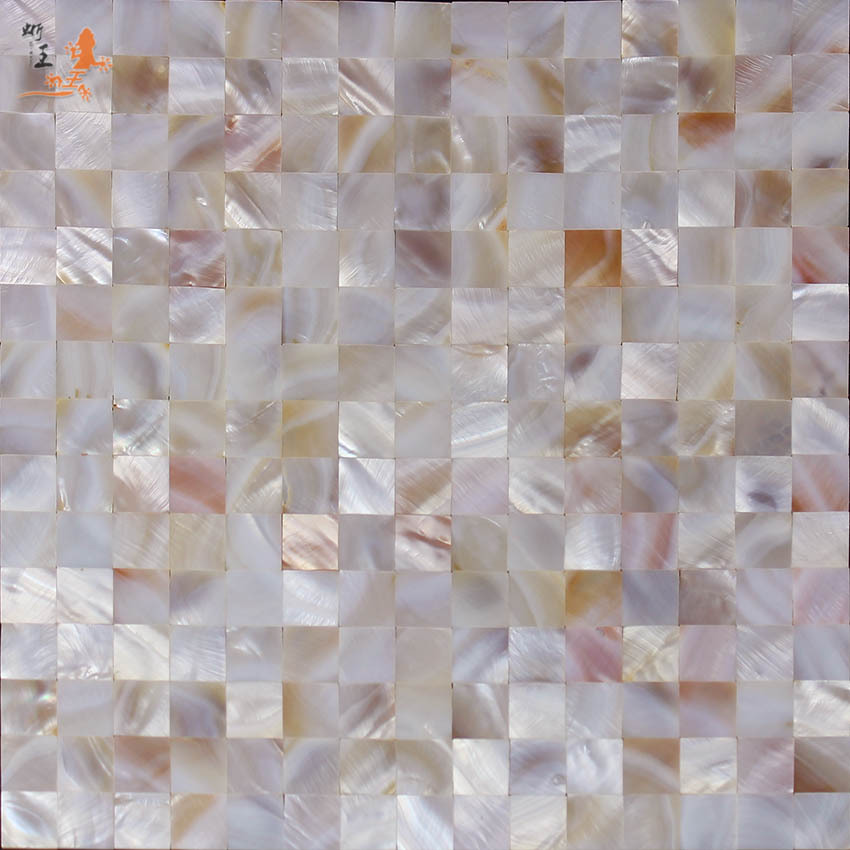 20MM Natural Color Pink Boutique Close Fight Natural Shell Mosaic Wall Tile Currently Available With Gum Self-Adhesive