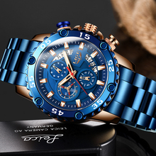 2020 LIGE Watches Sports Full Steel Blue