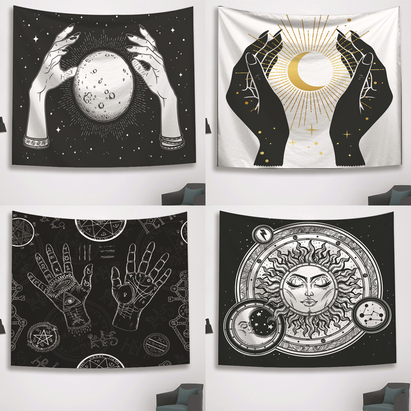 Psychedelic Black and White Tapestry Witchcraft Hand Wall Hanging Tapestry Moon Sun Star Print Tarot Throw Blanket Home Decor(China)