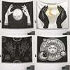 Psychedelic Black and White Tapestry Witchcraft Hand Wall Hanging Tapestry Moon Sun Star Print Tarot Throw Blanket Home Decor