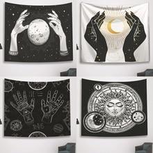 ประสาทหลอนสีดำและสีขาวTapestryเวทมนตร์มือแขวนผนังTapestry Moon Sun Starพิมพ์Tarotโยนผ้าห่มตกแต่งบ้าน