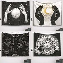 Tapisserie murale psychédélique noir et blanc, décoration de maison, motif de Tarot imprimé lune, soleil et étoile