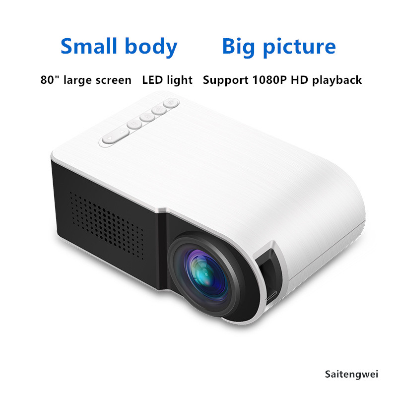 [White]Projector Mini Household Portable LED High Definition 1080P Projector|Home Theatre System| |  - title=