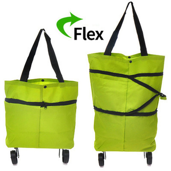 Foldable Multifunction Shopping Trolley Bag with Wheels    Wheels Reusable Reusable  Green Storage Bag  Water Proof 2