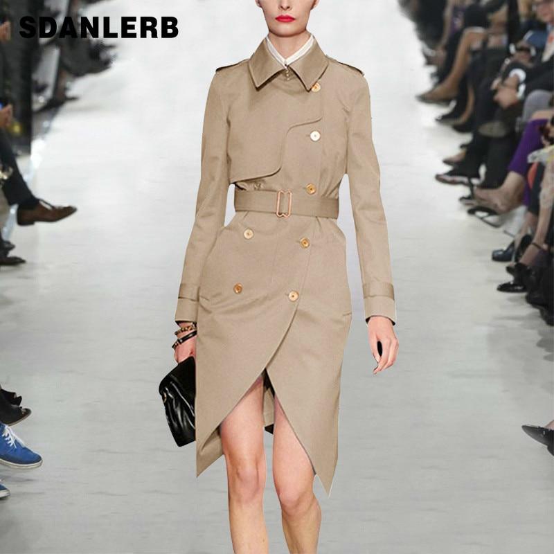 Spring Autumn Lapel Classicdouble-breasted Belt Waist Asymmetric Slim Long Khaki   Trench   Coat Coats Femininos