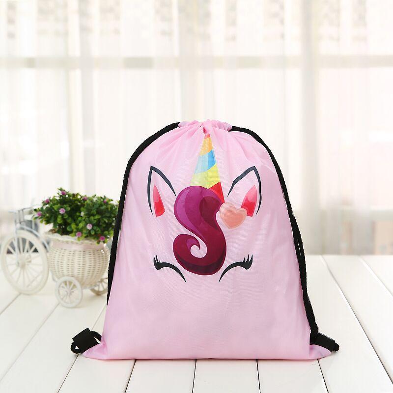 Drawstring Backpack 3D Printing Unicorn Deer Girls Travel Unicornprinting New Fashion Women Drawstring Bag Rope Unisex New White