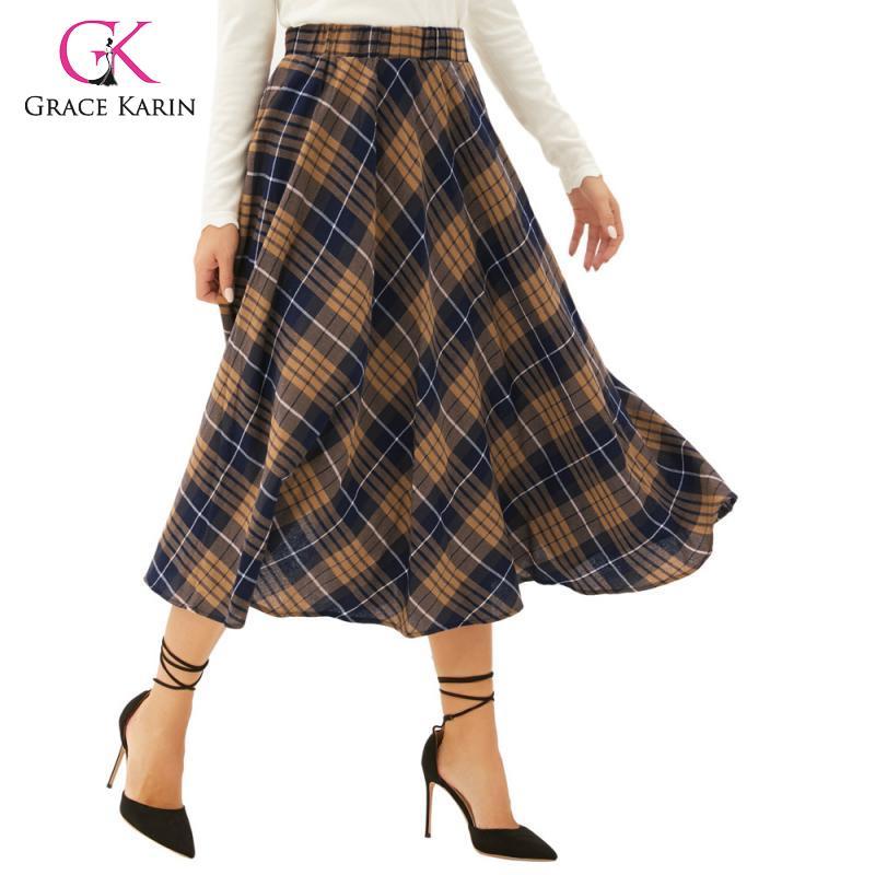Grace Karin Women Vintage Classic Grid Pattern Plaid High Waist A-Line Skirt Fashion Flared Skirt High Waist Pleated Midi Skirts