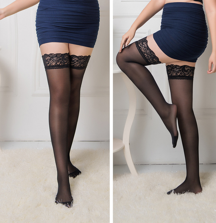 100kg Plus Size Lace Top Stay Up Thigh High Stockings Pantyhose Non-slip Silicone Stockings For Garters Women's Hosiery