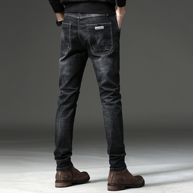 2019 Autumn And Winter New Style Men Casual Business-Style Straight Slim Elasticity Skinny Jeans MEN'S Trousers