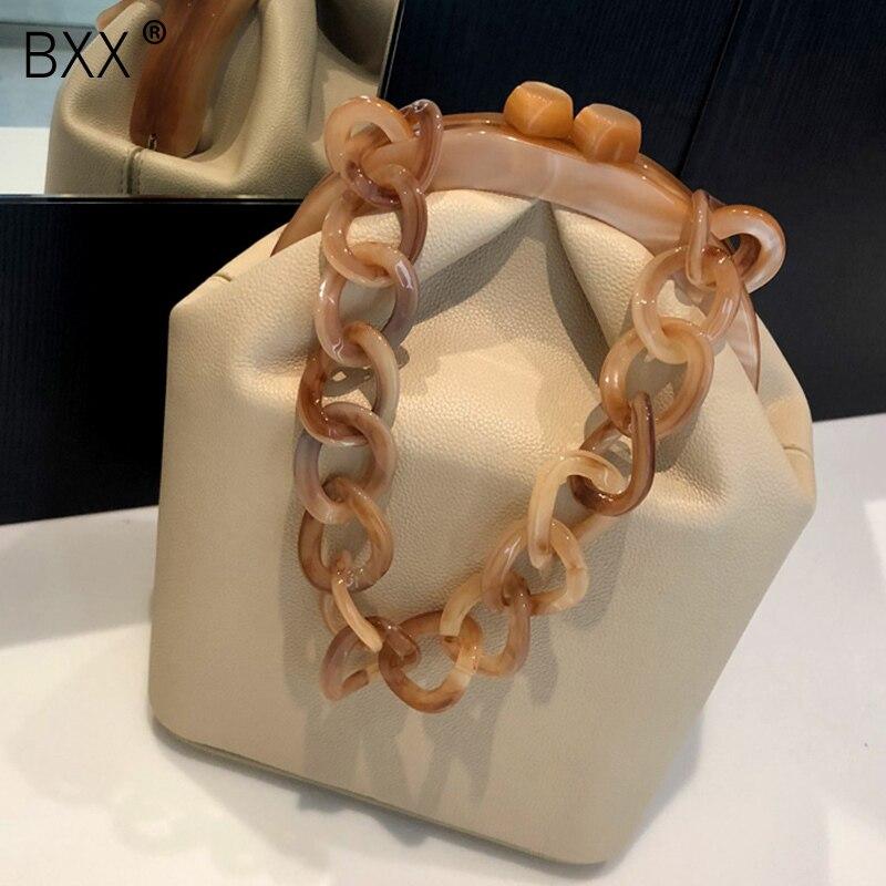 [BXX] 2020 Spring Summer Woman New Stylish Black Color Spliced Bucket Shape PU Leather Portable Handbag All Match Travel LI972