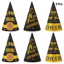 Party-Hats Party-Decorations-Accessories Kids New-Year Cone for And Adults Happy 9pcs