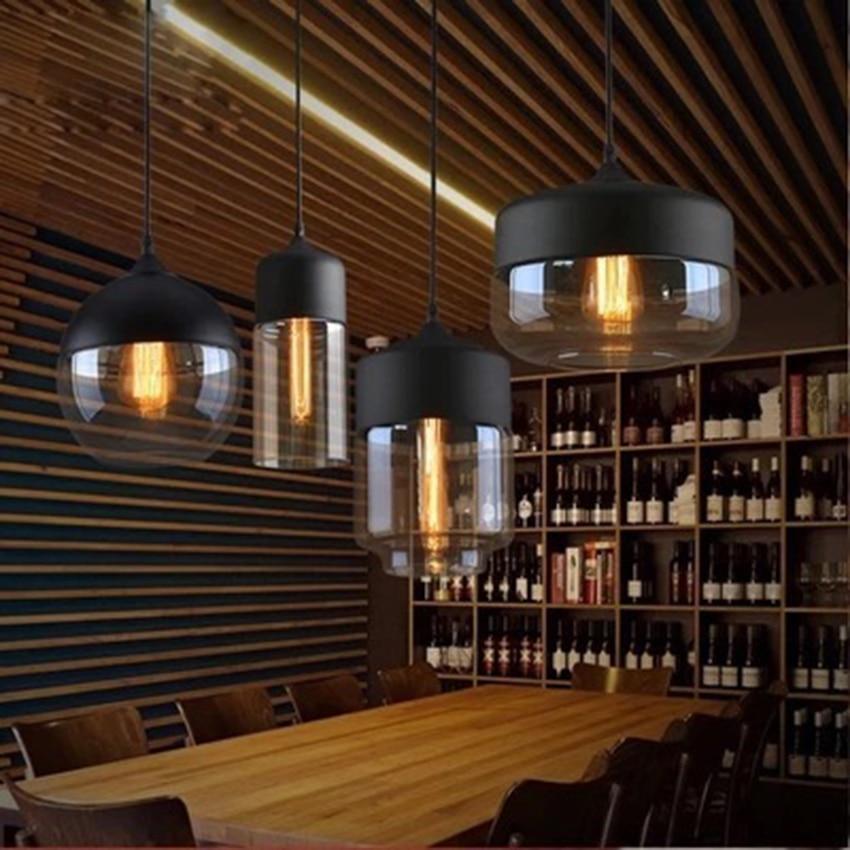 Modern LED Clear Glass Pendant Lights Lighting Nordic Retro Indoor Decor Loft Hanging Lamp Bar Restaurant Bedroom Light Fixture