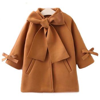 Menoea Children Autumn Outwear New Style Toddler Girls Silod Color Warm Bowknot Coat Overcoat Kids Long Sleeve Clothes Jacket 2018 new style toddler baby girls winter down coat infants kids cotton jacket outwear kids clothes children clothing 10 12 years