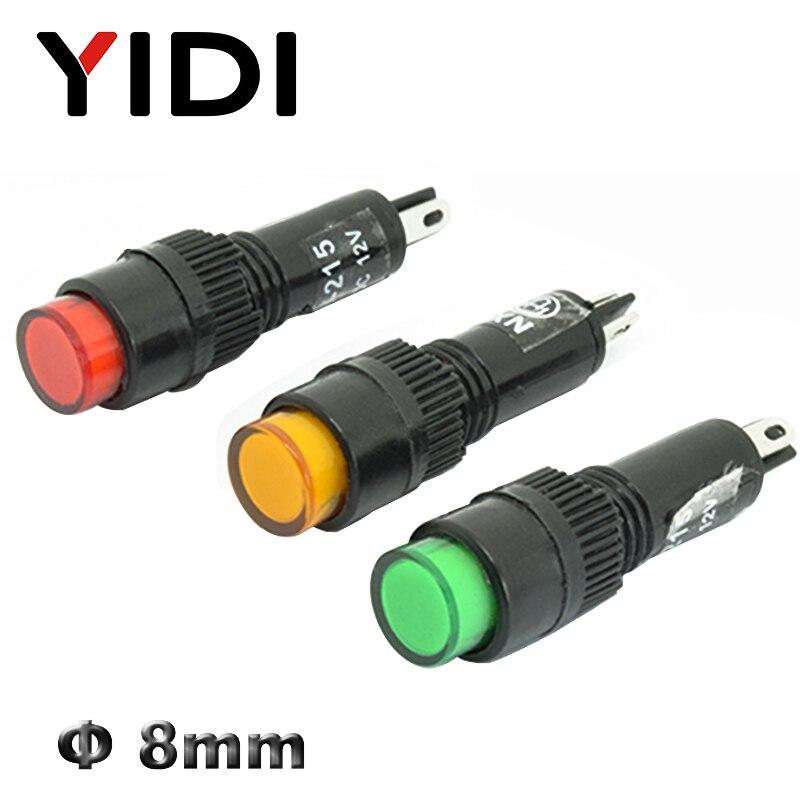 NXD-215 8mm LED Plastic Indicator Light 12V 24V 220V AC DC LED Red Green Blue Yellow Pilot Lamp Signal Lamp Solder Pins