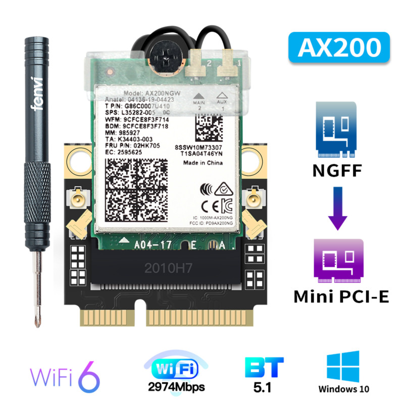 2974Mbps Wi-Fi 6 For Intel <font><b>AX200</b></font> M.2 to Mini PCI-E Wifi Card Wireless Bluetooth 5.1 AX200NGW 2.4G/5Ghz 802.11ax Network Adapter image