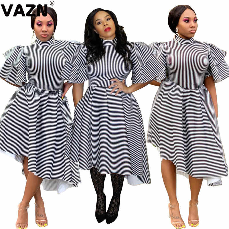 Vazn gla 13081 솔리드 섹시 드레스 2019 새로운 밴드 짧은 소매 스트라이프 드레스 라인 여성 파티 나이트 클럽 드레스