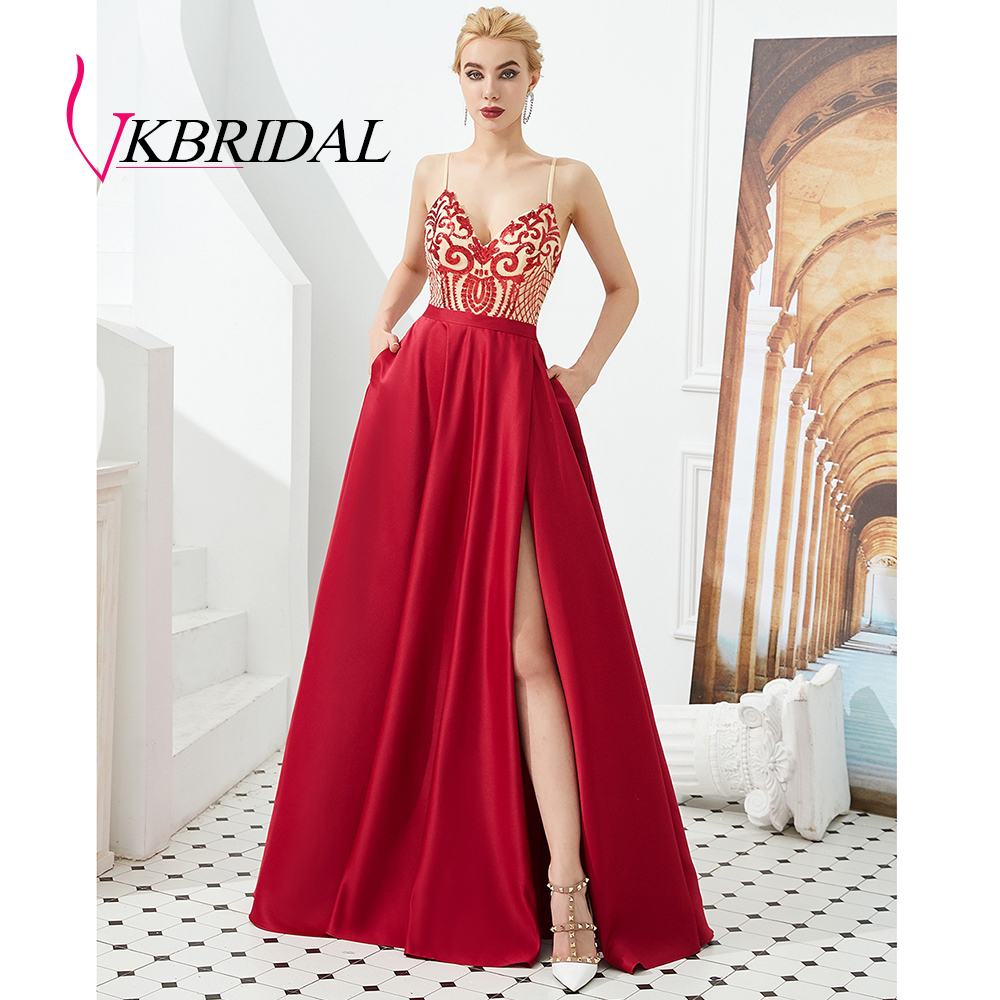 VKbridal 100% Real Picture Sequin Lace Backless Evening   Dress   Sexy High Slit Homecoming Party Gowns   Prom     Dresses   Long 2019