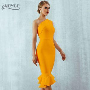 Image 2 - Adyce 2020 New Summer Women Bandage Dress Sexy One Shoulder Sleeveless Ruffles Nightclub Celebrity Evening Party Mermaid Dresses