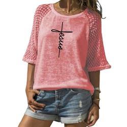 Модная Кружевная футболка с вырезом лодочкой футболка с буквенным принтом для женщин женская футболка большого размера женские забавные