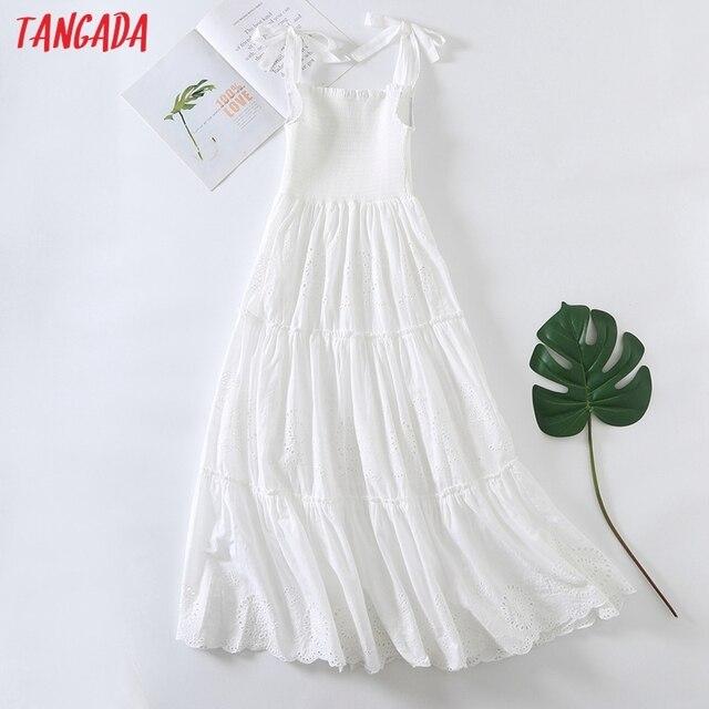 Tangada Women Embroidery Romantic Cotton Dress Bow Sleeveless Backless 2021 Summer Fashion Lady Boho Dresses Vestido 6H57 6