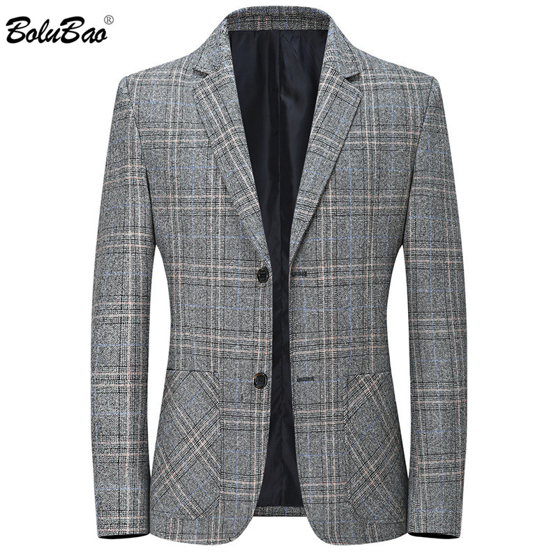 BOLUBAO Brand Men Plaid Blazers Spring New Men's High Quality Single Breasted Suit Business Casual Blazers Male