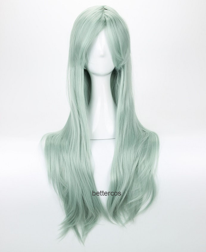 The Seven Deadly Sins Elizabeth Liones Cosplay Wig Long Light Gray Green Heat Resistant Synthetic Hair Wig + Wig Cap