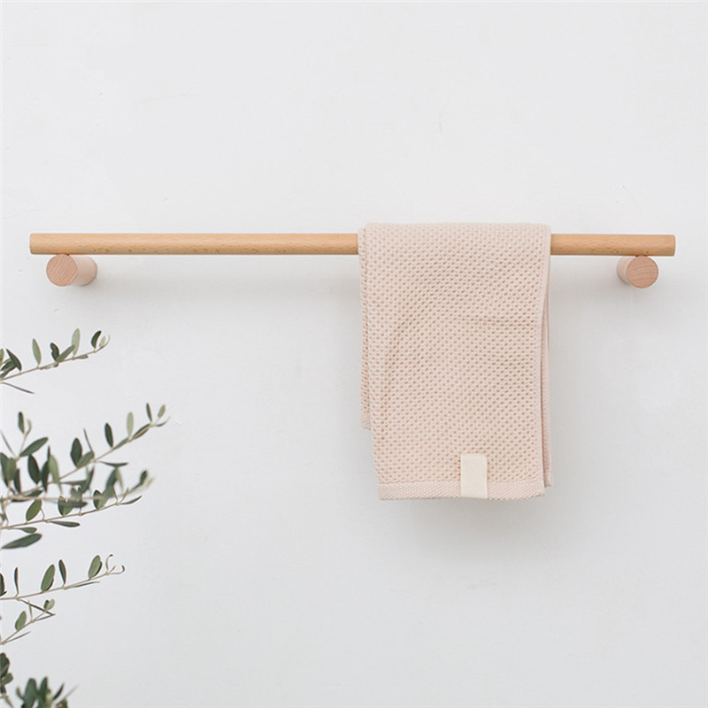 Solid Wood Towel Rack Holder Bathroom Robe Racks Hanging Rod Wall Mounted Towel Hanger 60cm