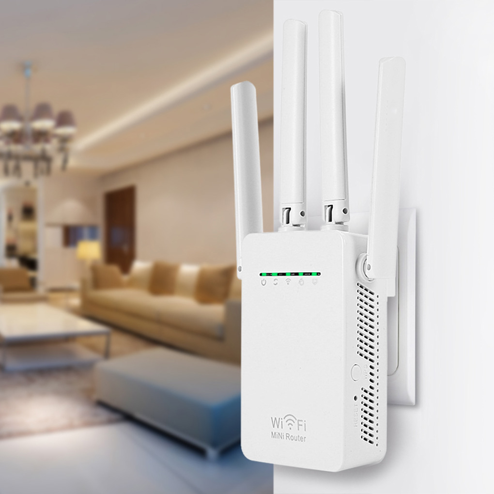 New UK Plug Home Mini 300Mbps Wireless WiFi Router Signal Repeater Extender 4 External Antennas Wall Repeater