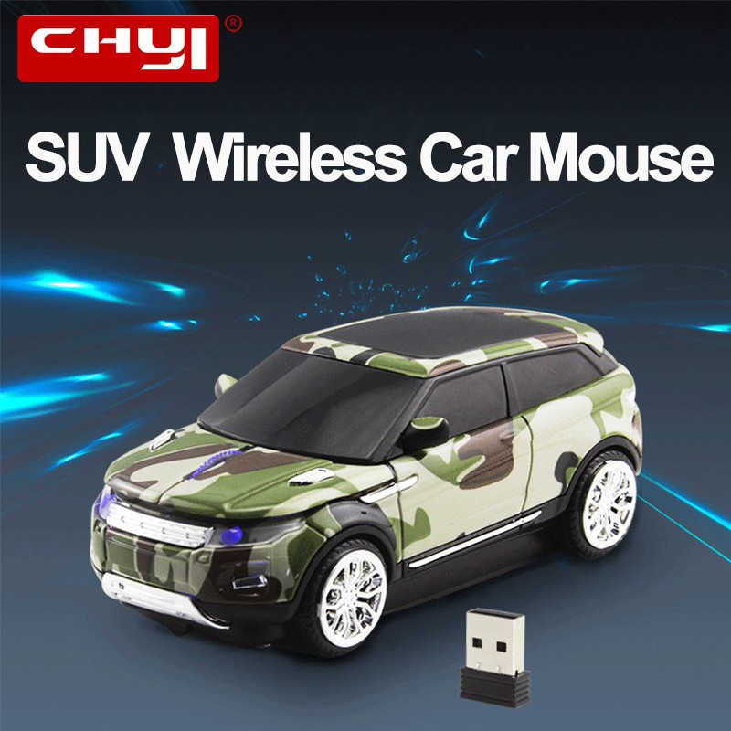 Usbkingdom 2.4GHz Wireless Mouse Sport Car Shape Mobile Optical Gaming Mouse with USB Receiver 1600DPI 3 Buttons for PC Laptop Computer Camouflage Green