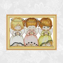 Joy Sunday Three little Angels Cross Stitch kit Aida Fabric 14ct 11ct Count Printed Canvas Handmade Needlework Embroidery Sets