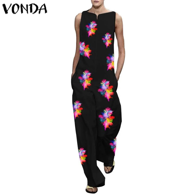VONDA Vintage Rompers Womens Jumpsuits 2020 Ladies Casual Floral Printed Long Playsuits Bohemian Overalls S-5XL Women's Trousers 4