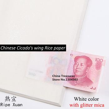 10 arkuszy chiński papier ryżowy cykada z miką dojrzały papier Xuan dla chińskiego malarstwa Gongbi Xuan Zhi bardzo cienki papier tanie i dobre opinie Mian Gen CN (pochodzenie)