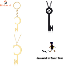 Dropshipping Coraline & the Secret Door Charms Necklace Figure KEY Skeleton Props Neil Gaiman Cosplay Jewelry