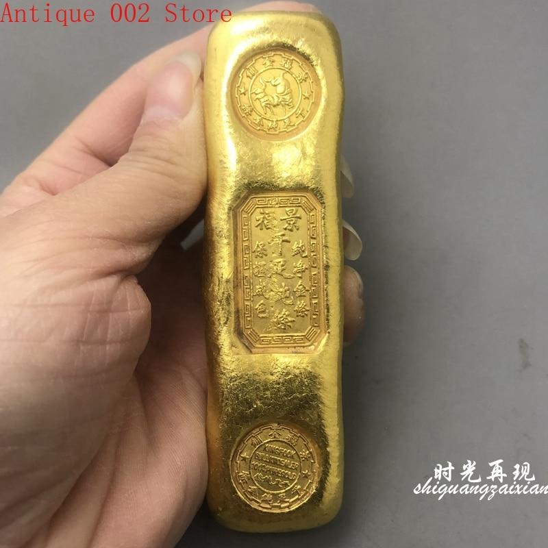 Jingfu qianzu | Barre pure en laiton plaqué or, lingot de bar en or artisanat