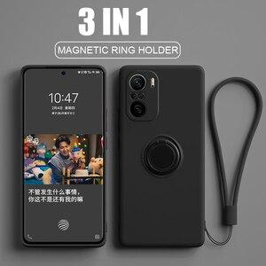 Image 5 - Poco f3 capa pocofone f3 pocof3 anel magnético suporte de silicone líquido completo protetor da câmera capas capinha para xiaomi redmi k40 k 40 pro