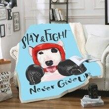 3D Print Cartoon Dog Blankets Soft Plush ThrowBlanket for Kids Boys Bed Sofa Covers Brave Boxer/Mask Superhero Blue Background