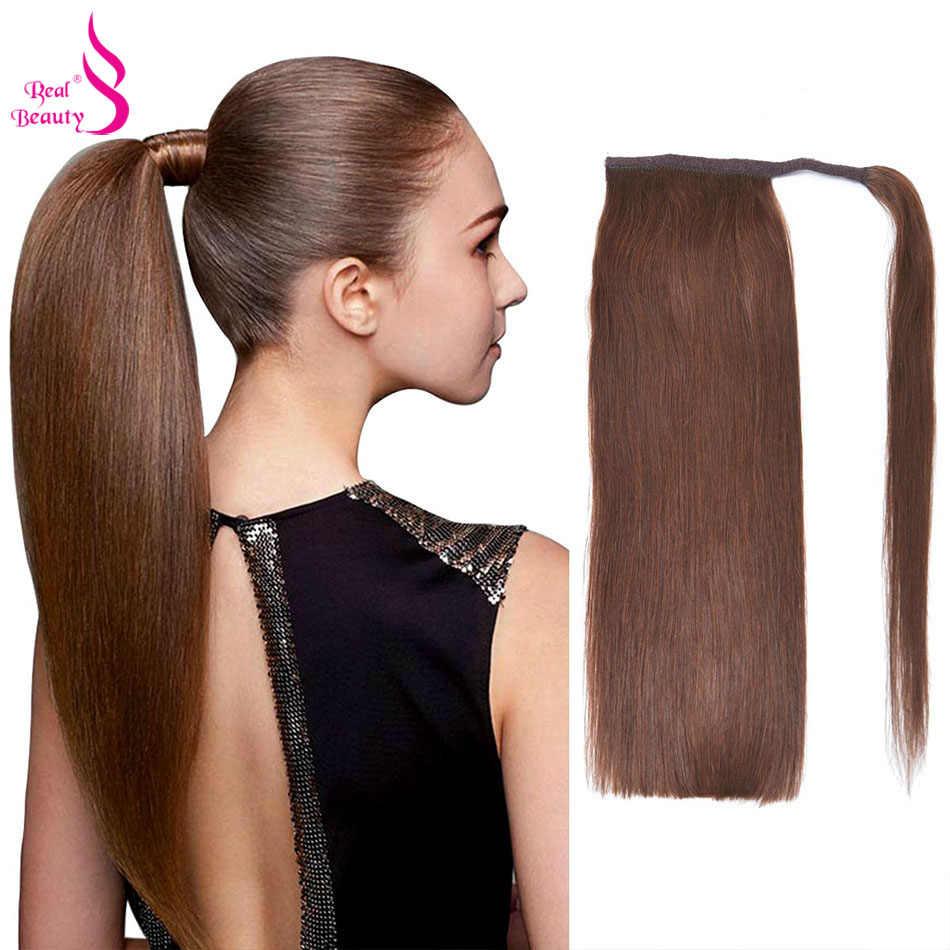 Echte Schoonheid Braziliaanse Remy Paardenstaart Wrap Around Paardenstaart 100% Straight Menselijk Haar Paardenstaart 60/100/120G Haarstukken