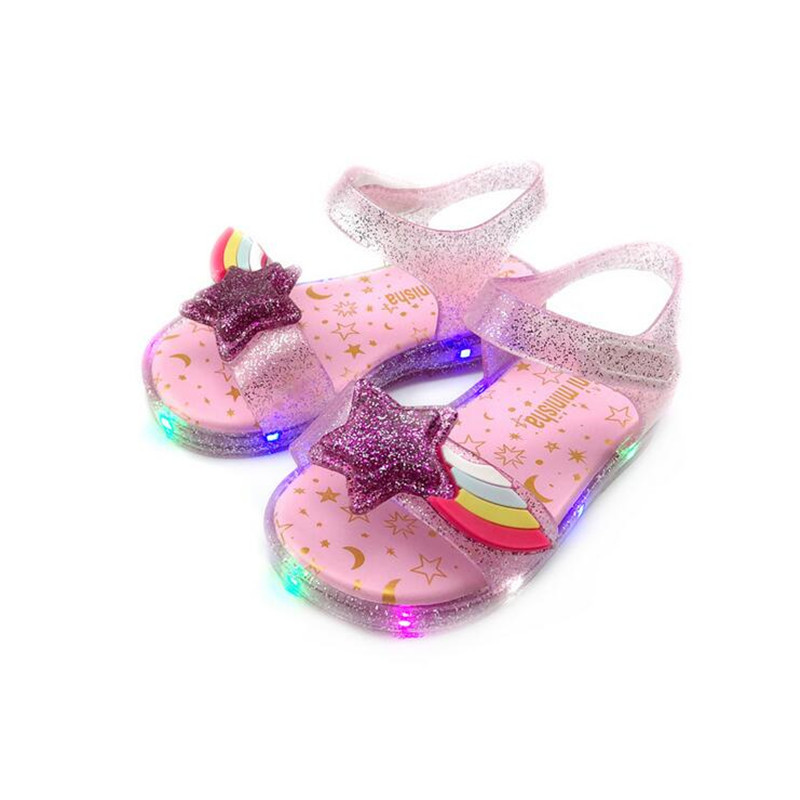 Mini Melissa 2020 Original Girl Jelly Sandals Led Kids Sandals Children Beach Shoes Non-slip Melissa Toddler Shoes