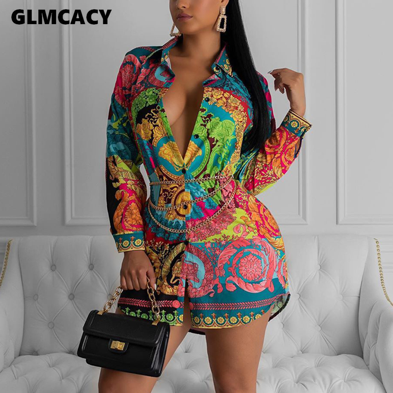 Women Streetwear Turn-down Collar Print Long Sleeve Dress Autumn Casual Fashion Loose Above Knee Dress Shirt Dress