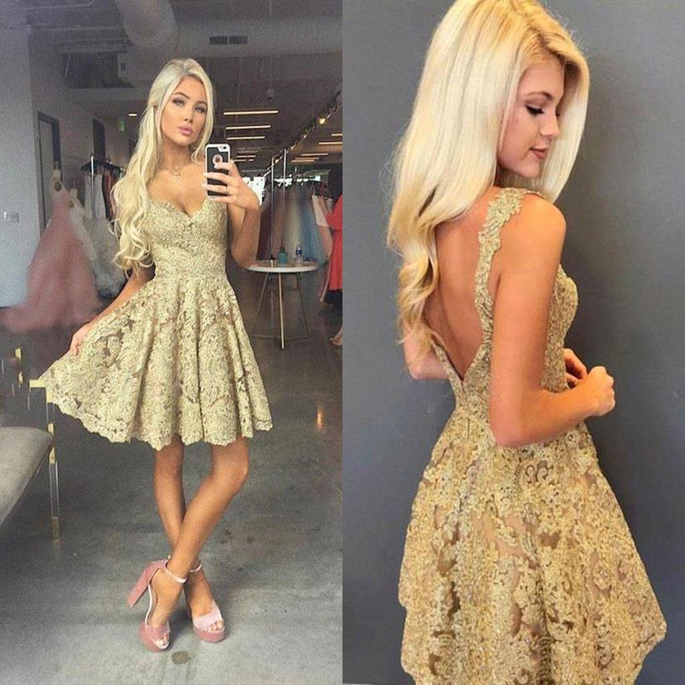 2020 Sexy Gold Full Lace Open Back Homecoming   Dresses   Cheap Spaghetti Above Knee Length Party Cocktail Gown Mini Club   Prom     Dress