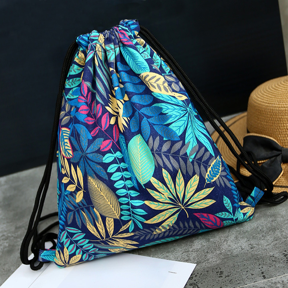 Women Storage Backpack Shopping Organizer Lightweight Canvas Pouch Travel Multi Use Drawstring Bag Sport Outdoor Floral Print